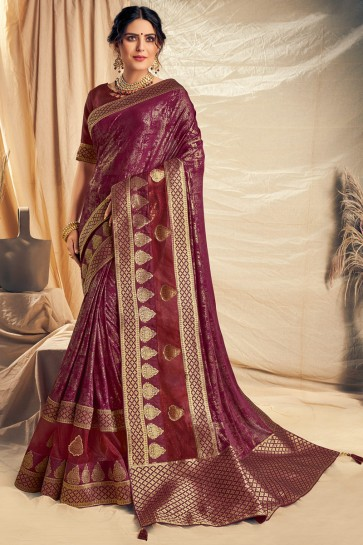 Appealing Maroon Thread Work And Embroidered Silk Saree With Border Work Blouse