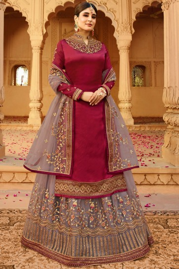 Pleasing Maroon Embroidered And Zari Work Kritika Kamra Georgette Satin Lehenga Suit With Net Dupatta