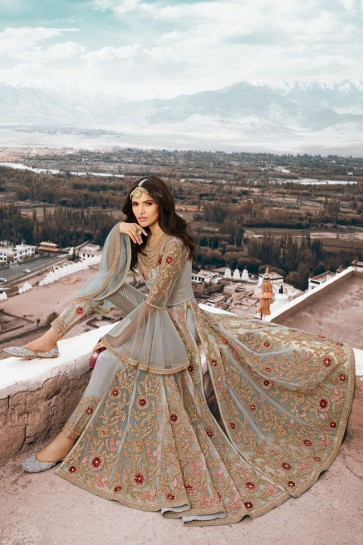 Grey Net Fabric Embroidered Designer Abaya Style Anarkali Suit And Dupatta