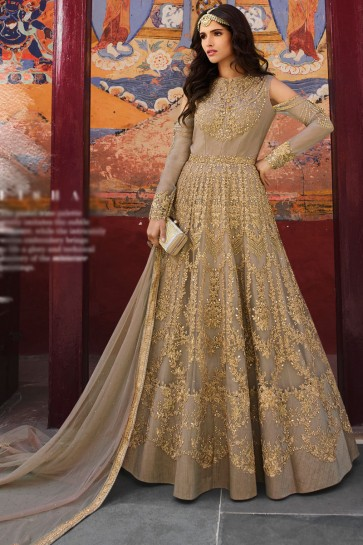 Beige Net Fabric Embroidered Designer Abaya Style Anarkali Suit And Dupatta