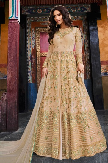 Net Fabric Designer Cream Embroidery Work Anarkali Suit And Dupatta