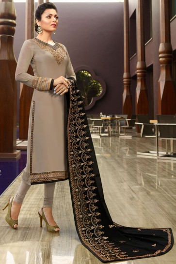 Delightful Grey Drashti Dhami Embroidered Georgette Satin Salwar Suit And Dupatta