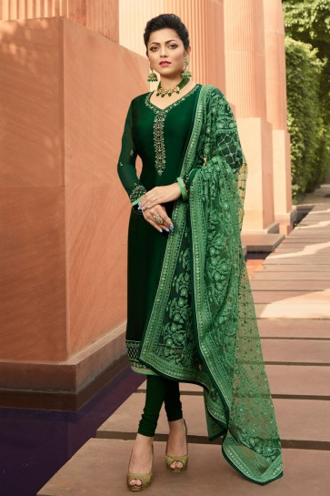 Drashti Dhami Charming Green Embroidered Georgette Satin Salwar Kameez And Dupatta