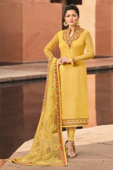 Marvelous Yellow Embroidered Drashti Dhami Georgette Satin Salwar Kameez And Dupatta