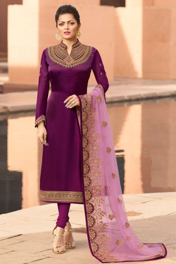 Gorgeous Drashti Dhami Georgette Satin Magenta Embroidered Salwar Suit And Dupatta