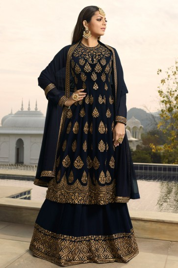 Drashti Dhami Navy Blue Embroidered Georgette Plazzo Suit And Dupatta