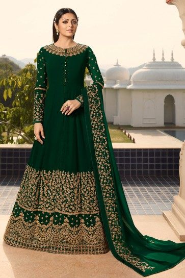 Drashti Dhami Designer Embroidered Green Georgette Anarkali Suit And Dupatta