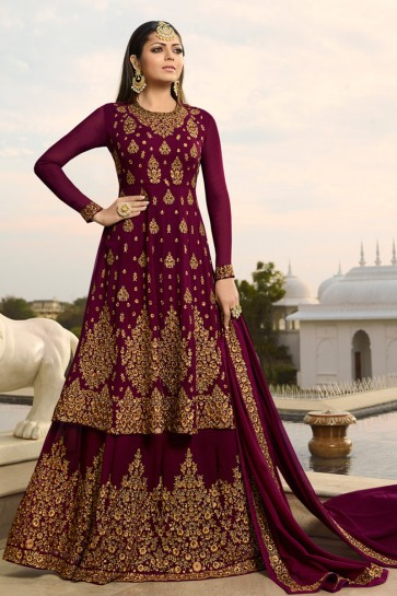 Drashti Dhami Marvelous Maroon Embroidered Georgette Plazzo Suit And Dupatta