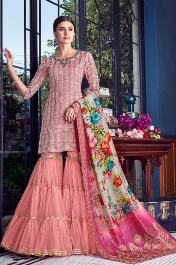 Marvelous Peach Embroidered Silk Plazzo Suit With Jacquard Dupatta