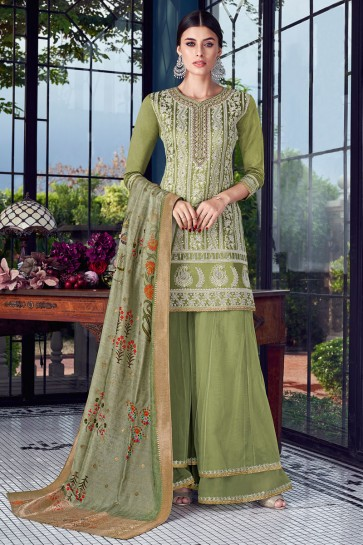 Lovely Embroidered Mehendi Green Silk Plazzo Suit With Jacquard Dupatta