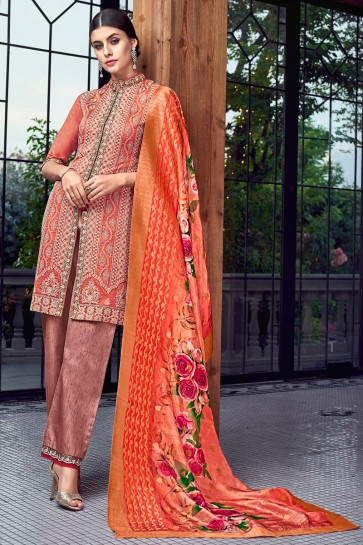 Peach Embroidered Silk Plazzo Suit With Jacquard Dupatta