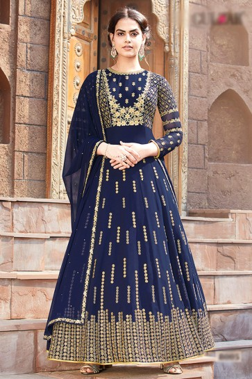 Beads Work And Lace Work Designer Blue Faux Georgette Abaya Style Anarkali Suit And Dupatta