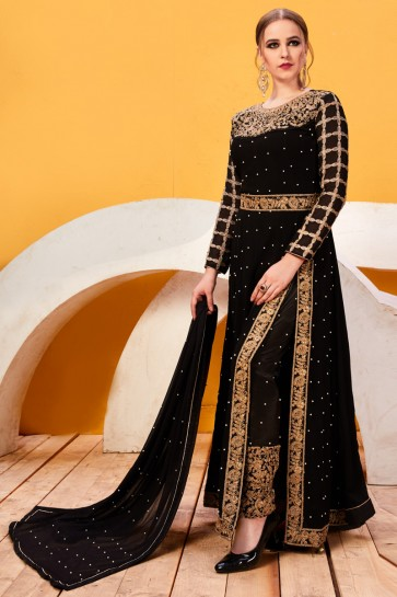 Black Embroidery And Beads Work Faux Georgette Fabric Salwar Suit With Chiffon Dupatta