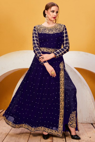 Faux Georgette Fabric Navy Blue Embroidery And Lace Work Salwar Suit With Chiffon Dupatta