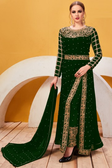 Beads Work And Lace Work Green Faux Georgette Salwar Suit And Santoon Bottom