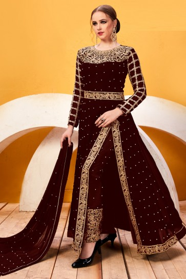 Heavy Designer Faux Georgette Coffee Beads Work And Lace Work Salwar Suit And Santoon Bottom
