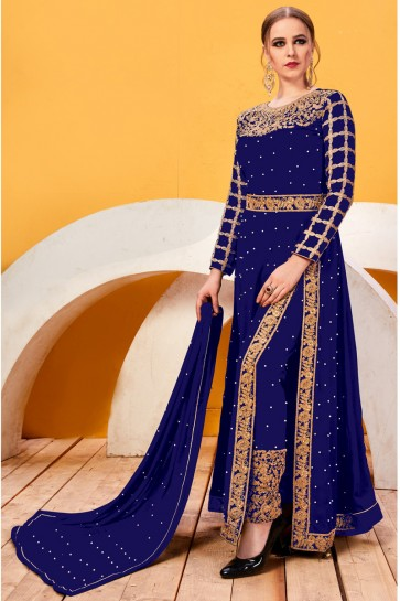 Blue Beads Work And Lace Work Faux Georgette Salwar Suit With Chiffon Dupatta