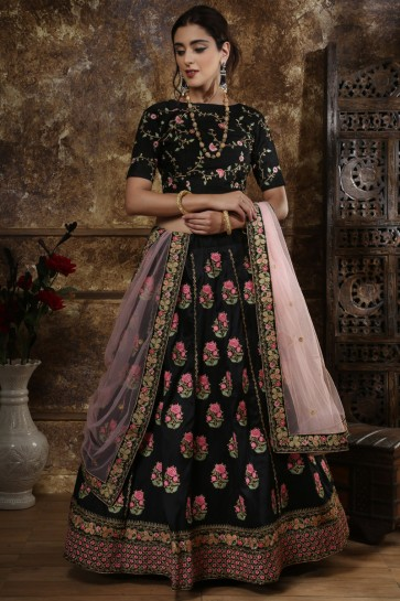 Classic Black Embroidery And Beads Work Silk Fabric Lehenga Choli With Net Dupatta