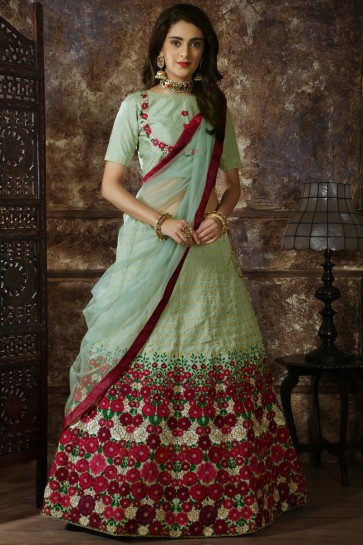 Silk Fabric Sky Blue Embroidery And Lace Work Designer Lehenga Choli With Net Dupatta