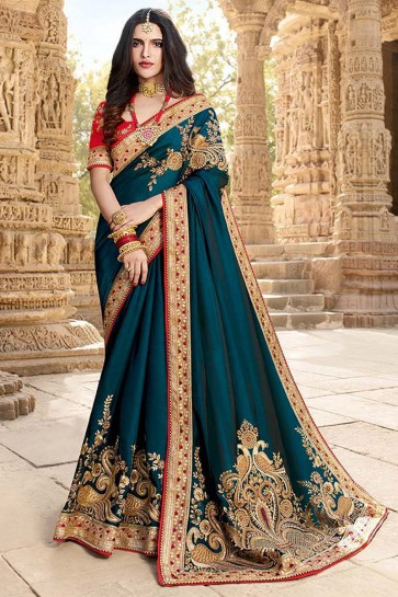 Teal Embroidery And Beads Work Designer Georgette Silk Saree And Art Silk Blouse