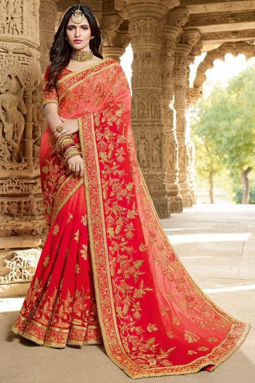 Embroidery And Lace Work Red Georgette Silk Fabric Saree And Art Silk Blouse