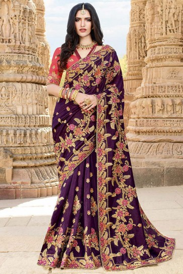 Lace Work And Beads Work Purple Silk Fabric Saree With Embroidery Work Blouse