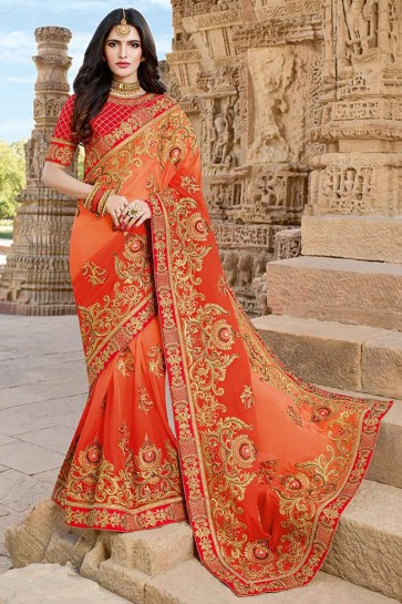 Beads Work And Lace Work Orange Georgette Silk Designer Saree And Blouse