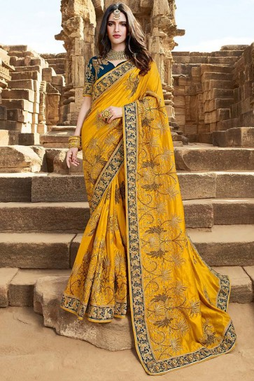 Beautiful Yellow Embroidery And Beads Work Satin Silk Saree And Art Silk Blouse
