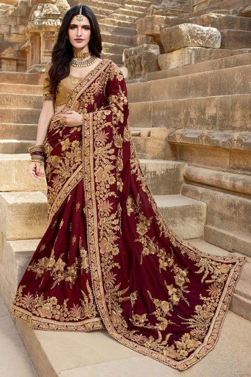 Georgette Silk Maroon Embroidery And Lace Work Designer Saree With Beads Work Blouse