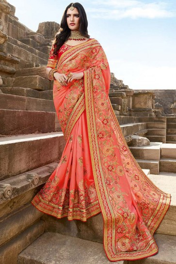 Peach Embroidery And Beads Work Designer Silk Fabric Saree And Lace Work Blouse