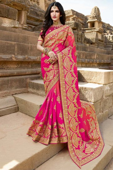 Embroidery And Lace Work Pink Satin Silk Fabric Designer Saree And Art Silk Blouse