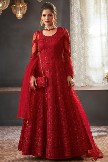 Net Fabric Red Embroidered And Lace Work Abaya Style Solid Anarkali Suit And Santoon Bottom