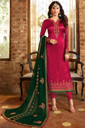Magenta Georgette Satin Fabric Embroidery And Beads Work Salwar Suit With Georgette Dupatta