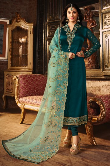 Supreme Teal Embroidered And Lace Work Georgette Satin Salwar Suit With Net Dupatta