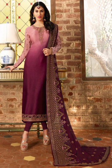 Embroidered Pink And Maroon Georgette Satin Fabric Salwar Suit With Net Dupatta