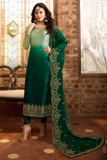 Lace Work Green And Light Green Georgette Satin Fabric Salwar Suit With Net Dupatta