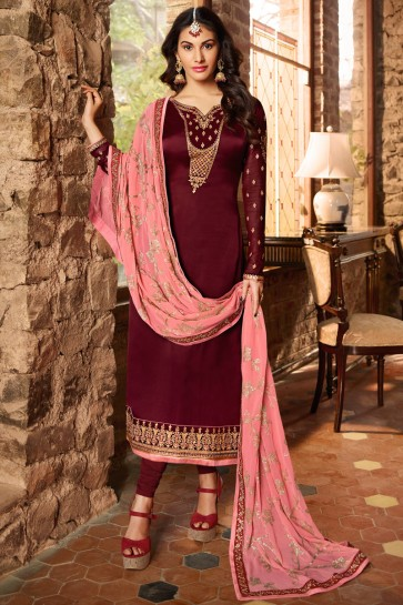 Party Wear Beads Work And Lace Work Maroon Stylish Salwar Suit And Santoon Bottom
