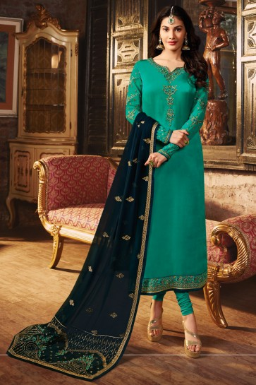 Georgette Satin Fabric Teal Embroidered And Lace Work Designer Salwar Suit With Georgette Dupatta