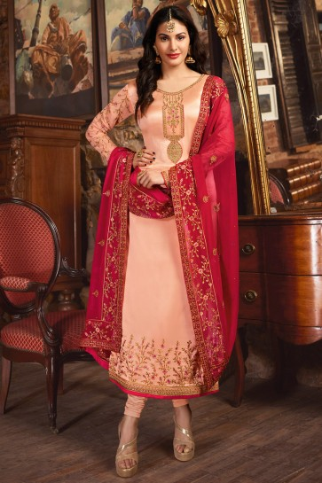 Charming Peach Lace Work And Bead Work Georgette Satin Salwar Suit With Net Dupatta
