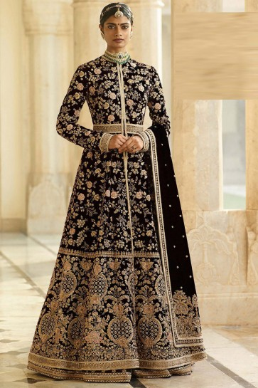 Velvet Fabric Black Embroidery And Beads Work Designer Abaya Style Anarkali Suit And Dupatta