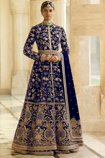 Blue Embroidered And Lace Work Velvet Abaya Style Anarkali Suit And Santoon Bottom