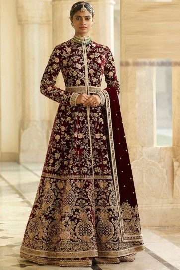 Embroidery And Beads Work Maroon Velvet Fabric Abaya Style Anarkali Suit And Dupatta