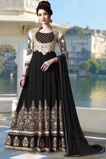Embroidery And Beads Work Black Faux Georgette Fabric Abaya Style Anarkali Suit And Dupatta