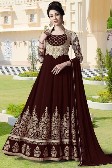 Maroon Embroidered And Lace Work Faux Georgette Abaya Style Anarkali Suit And Santoon Bottom