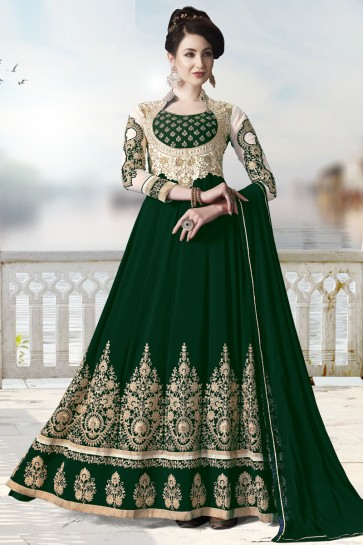 Beads Work And Lace Work Green Faux Georgette Abaya Style Anarkali Suit With Chiffon Dupatta