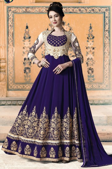 Superb Purple Faux Georgette Beads And Embroidery Work Abaya Style Anarkali Suit With Chiffon Dupatta