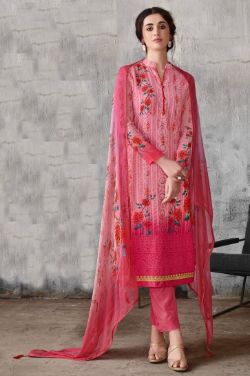 Pink Embroidered Georgette Salwar Suit With Chiffon Dupatta