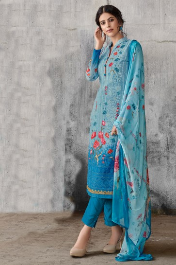 Delightful Sky Blue Embroidered Georgette Salwar Suit With Chiffon Dupatta