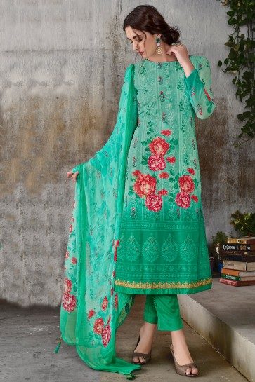 Gorgeous Georgette Sea Green Embroidered Printed Salwar Suit With Chiffon Dupatta