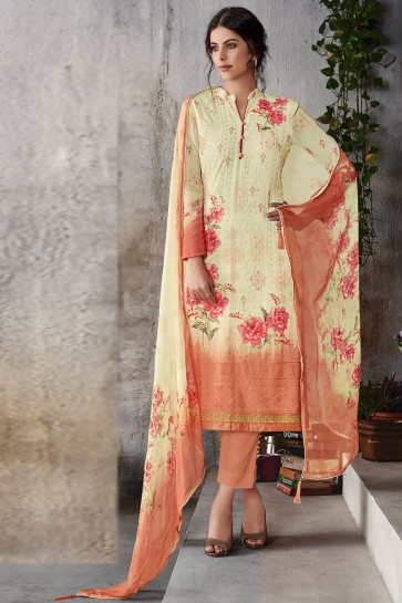 Party Wear Cream Embroidered Salwar Suit With Chiffon Dupatta